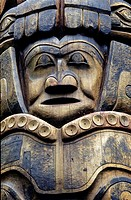 Closeup of Tlingit totem pole Sitka National Historic Park Sitka Alaska Southeast summer