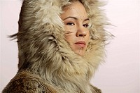 Portrait of Native Alaskan Inupiat Woman in Wolf Fur Coat in Studio Alaska
