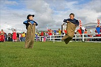 Potato sack race at the Alaska State Fair in Palmer. Summer in Southcentral Alaska