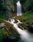 Velvety flowing waterfall Lake Clark National Park Southwest Alaska Summer