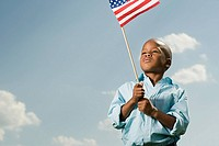 Boy with an american flag