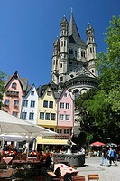 Old town and Gross Saint Martin, Cologne, NRW, Germany