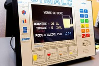 ALCOHOLEMIA Photo essay at the hospital of Meaux 77, France. Seminar of prevention for the staff of the hospital of Meaux about driving with a high le...