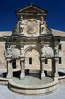 Seminario de San Felipe Neri and fountain in square of Santa María (16th century), Baeza. Jaen province, Andalucia, Spain