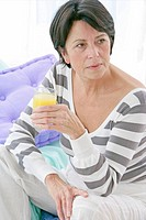 ELDERLY PERSON WITH COLD DRINK Model.