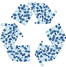 Recycling symbol made of water bottles (thumbnail)