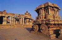 Stone chariot garuda , Vittala temple 15th century , Hampi , Hospet , Karnataka , India