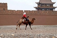 Chinese Woman Riding Camel On Jiayuguan Pass