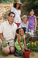 Families gardening