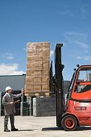 Warehouse worker checking cargo