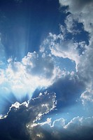 Sunbeams filtering through clouds
