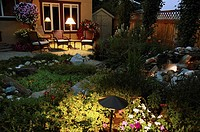 Backyard garden at dusk