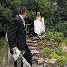 Bride descending steps