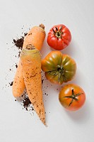 Two carrots with soil and three tomatoes (thumbnail)