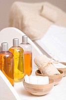 Various body oils and equipment for beauty treatments