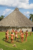 Model of Indians in reproduction Taino Indian village, Chorro de Maita, Banes, near Guardalavaca, Holguin Province, Cuba