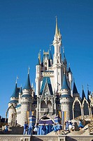 Performers on stage, Cinderella Castle, Magic Kingdom, Disney World, Orlando, Florida, USA