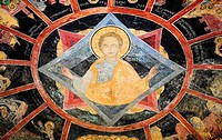 Paintings on ceiling of Old Church, Sinaia Orthodox Holy Monastery, Sinaia, Prahova Valley, Transylvania, Romania