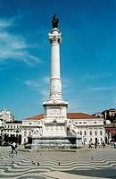 Dom Pedro IV statue, and National Theatre, Teatro Nacional De Dona Maria II, Rossio Square, Lisbon, Portugal