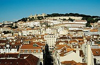 Overlooking the city and Saint George´s Castle from Elevator Santa Justa, Lisbon, Portugal