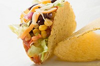 Taco filled with sweetcorn and beans