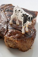 Grilled T_bone steak with toy calf