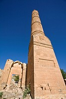 Turkey, Eastern Turkey, Hasankeyf, Artukid Ruins, Mosque minaret