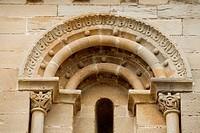 Detail of window, templar church in Torre del Rio. Navarra, Spain
