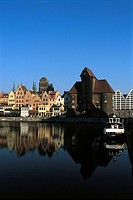 Poland, Gdansk, quays of the Motlawa River, medieval port crane