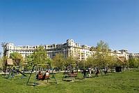 Romania, Muntenia, Bucharest, park along the Libertatii Boulevard