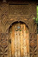 Romania, Maramures, close-up of carved door
