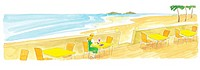 Young woman having a drink by the sea (thumbnail)