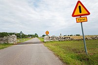 Countryroad in Sweden: wall crossing and 'färist' to stop cattle from crossing