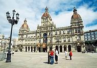 Town Hall in María Pita Square. La Coruña, Galicia, Spain.