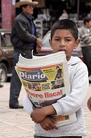 GUATEMALA  Boy selling newspapers   San Pedro Sacatepequez