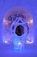 The ice statue in Igloo hotel in Alta