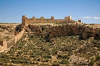 Alcazaba monumental complex, Jayran walls in the Cerro de San Cristobal, Almeria. Andalucia, Spain