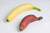 Yellow banana from Ivory Coast and pink banana from Ecuador