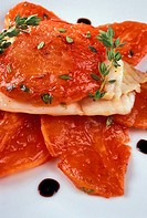 Roasted sea bass on dried tomatoes _ Dietetic menu