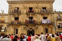 Town Hall façade during medieval festival, Briones. La Rioja, Spain
