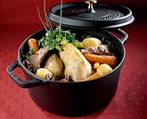 Pot au feu of guinea hen