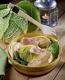 Crunchy chicken, smoked ham, green cabbage _ Eco menu