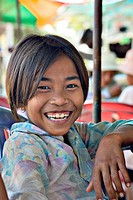 Happy, young Cambodian girl, Kompong Thom, Cambodia