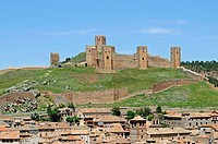 Alcazar Castle, fortress, towers, mountain, town, houses, roofs, historic town centre, Molina de Aragon, Castille La Mancha, Spain, Europe