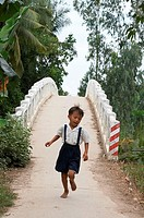 Vietnam. Hoa Binh commune in Vinh Long province. This bidge across a river and nex to Hoa Binh primary school, was constructed by CRS (Catholic Relief...