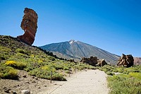 Roque Cinchado and Pico del Teide. Tenerife. Canary Islands. Spain.