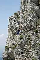 Members of the mountain rescue team practice on the Kampenwand mountain, Bavaria, Germany, Europe