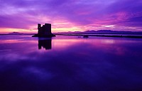 Tamarit tower at sunset , Santa Pola salt lagoons , Alicante province , Comunidad valenciana , Spain