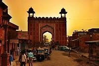 India. Rajasthan. Jaipur. Gate at Monkey Temple