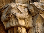 Gryphon, Romanesque church of Sant Pere de Galligants, Girona. Catalonia, Spain